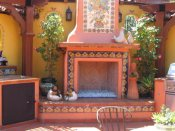 Mosaic Tile In Outdoors Fireplace