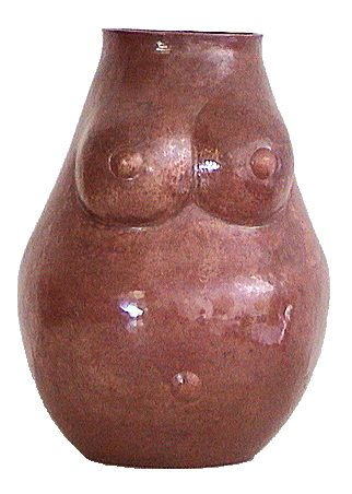 Folk Art Small Pregnant Woman Copper Nude