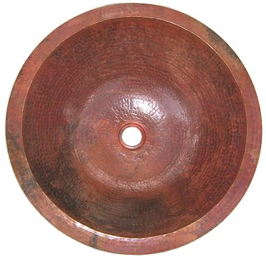 Undermount Hammered Round Natural Bathroom Copper Sink