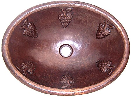 Hammered Oval Grapes Bathroom Copper Sink