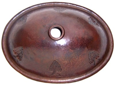 Hammered Oval Grapes Bathroom Copper Sink Details
