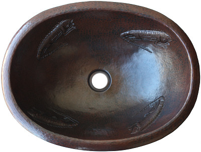 Hammered Oval Lizards Bathroom Copper Sink
