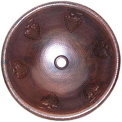Hammered Round Grapes Bathroom Copper Sink