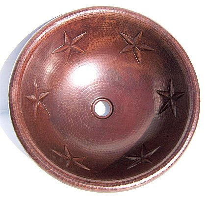 Hammered Round Stars Bathroom Copper Sink