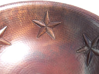Hammered Round Stars Bathroom Copper Sink Close-Up