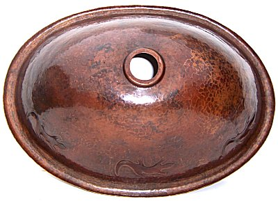 Hammered Oval Lizards Bathroom Copper Sink Details