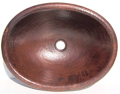 Hammered Oval Bathroom Copper Sink