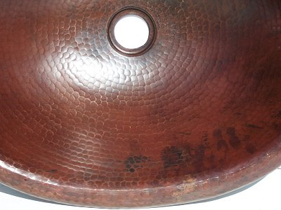Hammered Oval Bathroom Copper Sink Close-Up