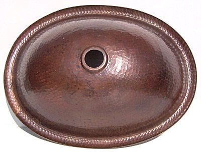 Hammered Oval Bathroom Copper Sink Details
