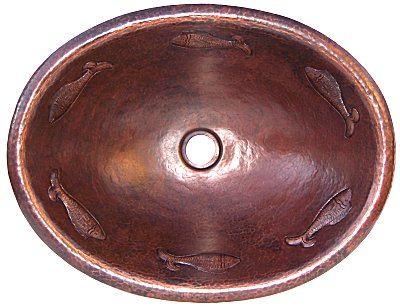 Hammered Oval Fish Bathroom Copper Sink