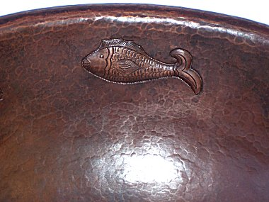 Hammered Oval Fish Bathroom Copper Sink Close-Up