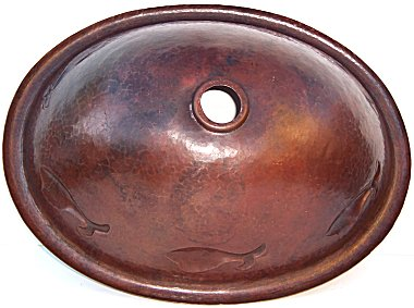 Hammered Oval Fish Bathroom Copper Sink Details