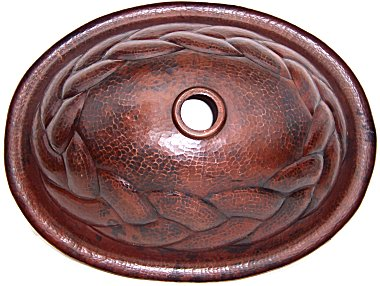 Hammered Oval Braided Bathroom Copper Sink Details