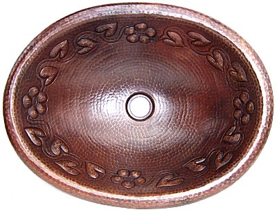 Hammered Oval Flowers Bathroom Copper Sink