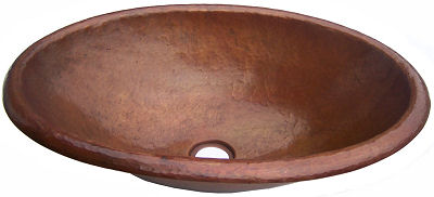 Terra Hammered Oval Bathroom Copper Sink Details