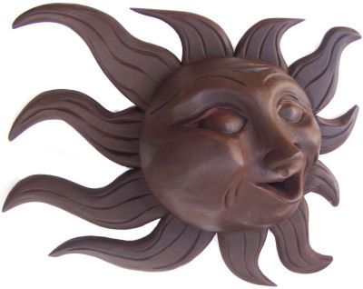 Big Brown Carved Wood Sunface