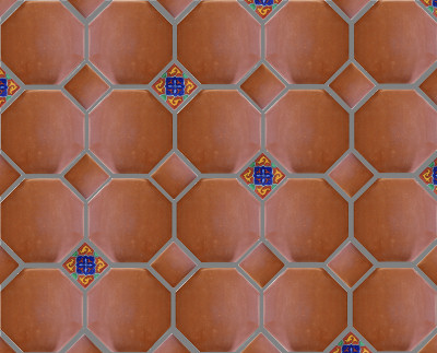 Octagon Clay Lincoln Mexican Floor Tile Close-Up