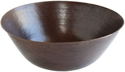 Big Weathered Hammered Copper Bowl