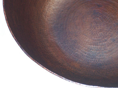 Big Weathered Hammered Copper Bowl Close-Up