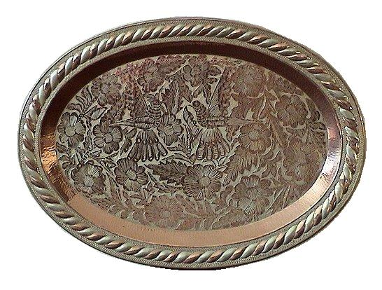 Oval Silver-Decorated Copper Tray
