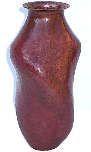 Medium Triangular Twisted Hammered Copper Vase