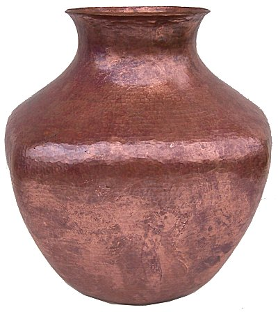 Big Squared Hammered Copper Vase