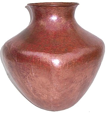 Big Squared Hammered Copper Vase Close-Up