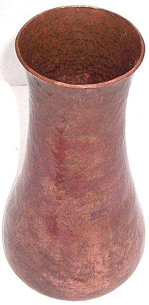 Flat Tall Hammered Copper Vase Close-Up