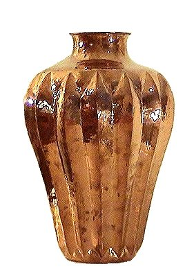 Folk Art Polished Pronged Copper Vase
