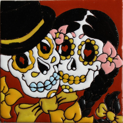 Lovely Couple Day Of The Dead Clay Tile