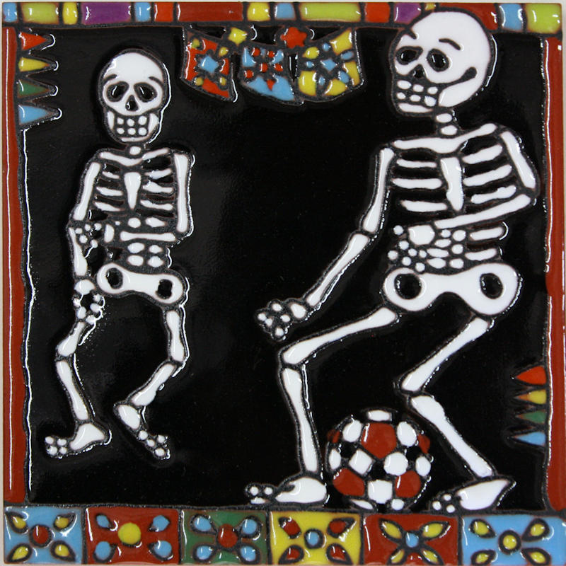 Football Players. Day-Of-The-Dead Clay Tile