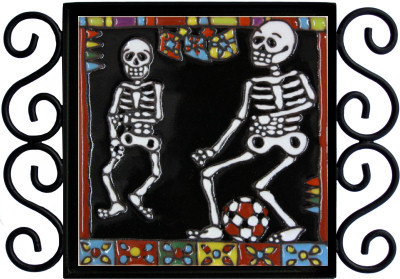 Football Players. Day-Of-The-Dead Clay Tile Close-Up