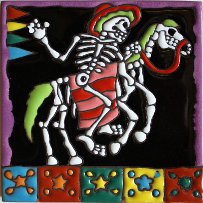 Horse Ride. Day-Of-The-Dead Clay Tile
