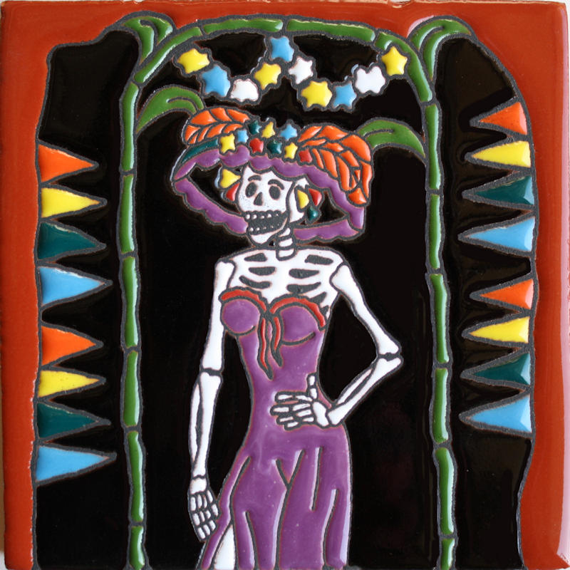 La Catrina. Day-Of-The-Dead Clay Tile