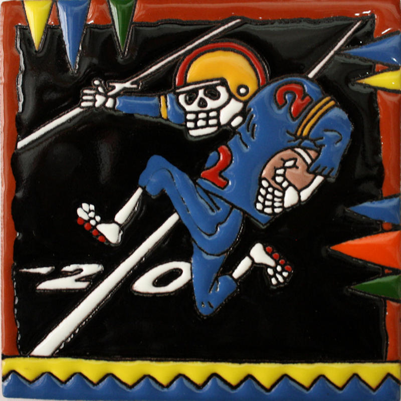 Football Player. Day-Of-The-Dead Clay Tile