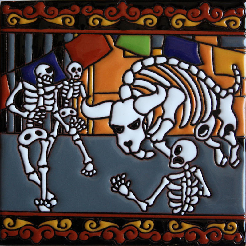 Running of the Bulls. Day-Of-The-Dead Clay Tile