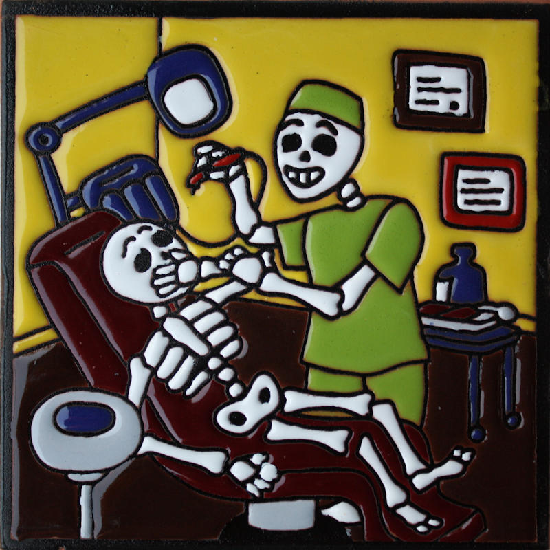Dentist. Day-Of-The-Dead Clay Tile