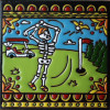 Golf. Day-Of-The-Dead Clay Tile