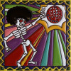 Disco Dancing. Day-Of-The-Dead Clay Tile