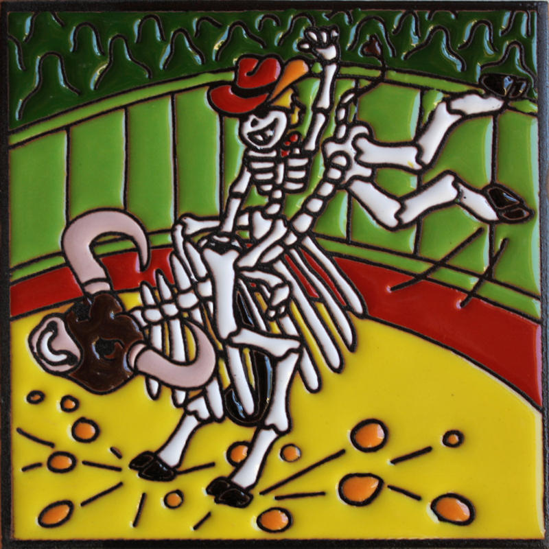 Bull Rider. Day-Of-The-Dead Clay Tile