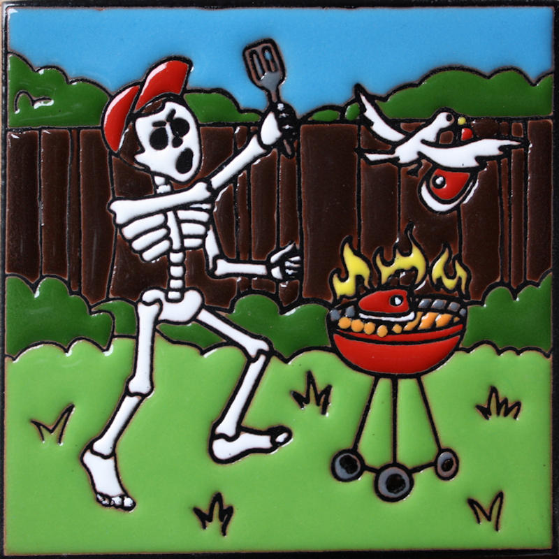 BBQ Time. Day-Of-The-Dead Clay Tile