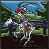 Rodeo Time. Day-Of-The-Dead Clay Tile