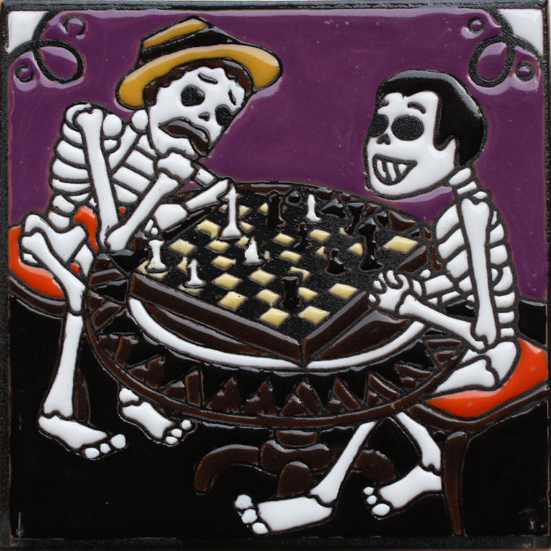 Chess Players. Day-Of-The-Dead Clay Tile