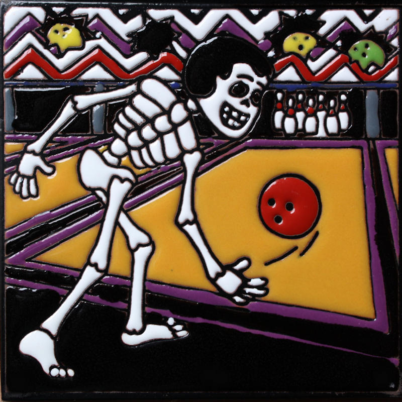 Bowling Time. Day-Of-The-Dead Clay Tile