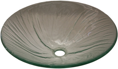 Above Counter Glass Vessel Basin - Blue Scalloped