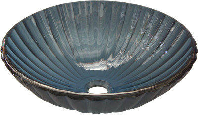 Above Counter Glass Vessel Basin - Blue Pronged