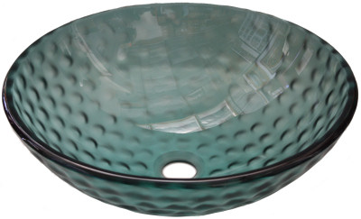 Above Counter Glass Vessel Basin - Clear Green