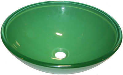 Above Counter Glass Vessel Basin - Green