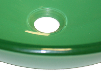 Above Counter Glass Vessel Basin - Green Close-Up