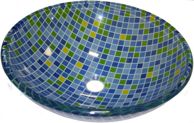 Above Counter Glass Vessel Basin - Mosaic